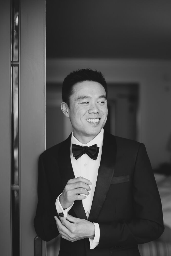 Groom in Classic Black Tux and Bow Tie
