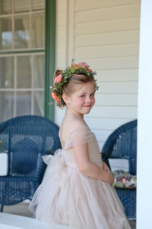 Champagne Tulle Flower Girl Dress With Flower Crown
