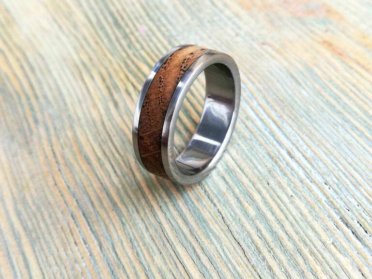 Wood inlay sixth anniversary ring gift