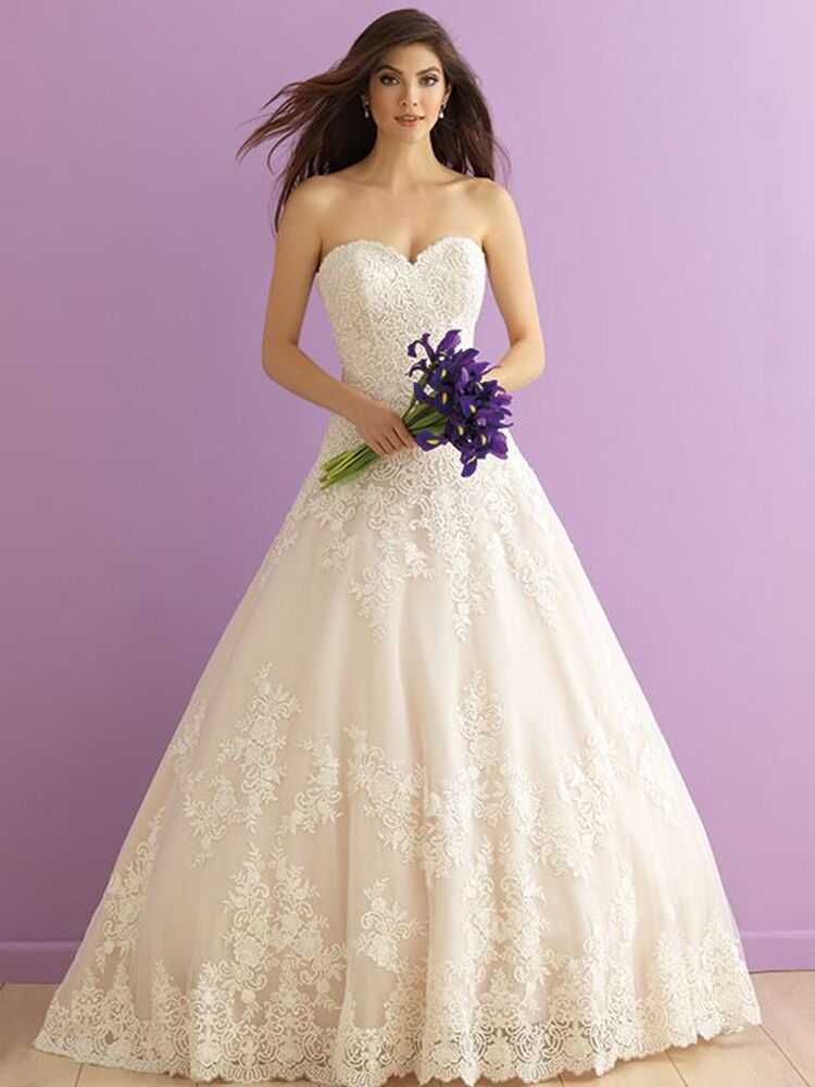 lace sweetheart neckline ball gown wedding dress