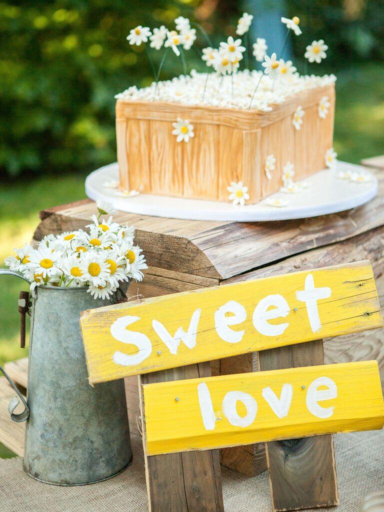 yellow wood wedding sign for rustic wedding