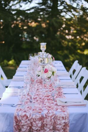 Pink and White Outdoor Tablescape