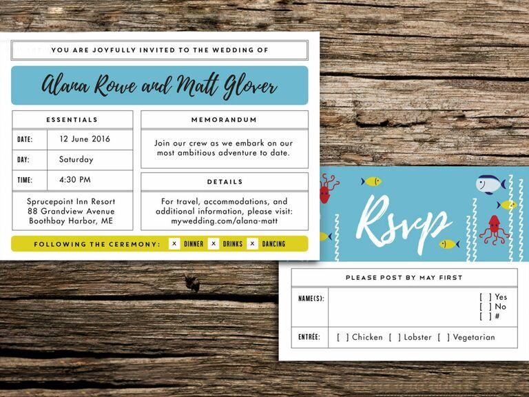 aquatic wedding invitation