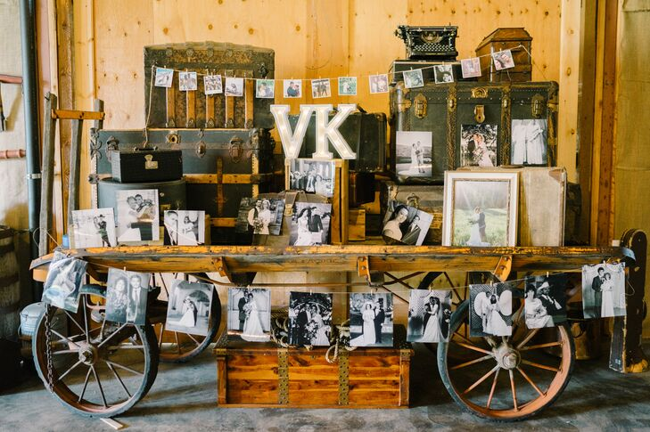"""At the reception, Kourtney and Vasa created a special display that highlighted vintage photos of family members. """"We really wanted it to be a day of not only celebrating us but also love in general,"""" Kourtney says."""