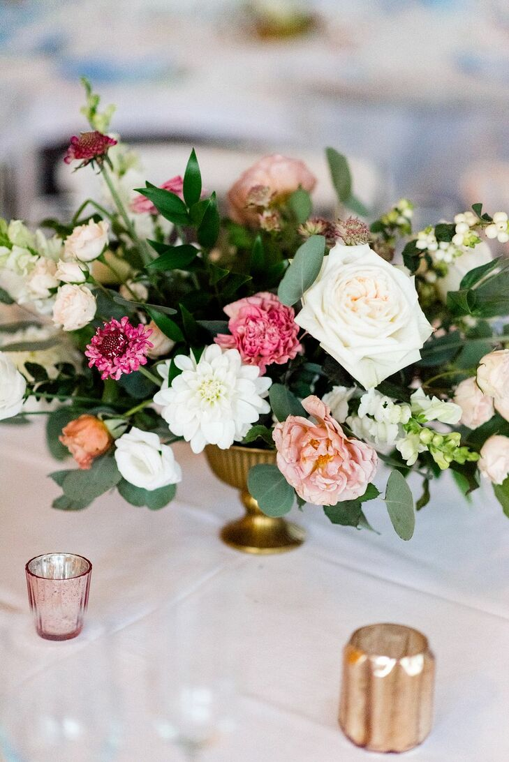Colorful Centerpiece for Reception at Machine Shop in Minneapolis, Minnesota
