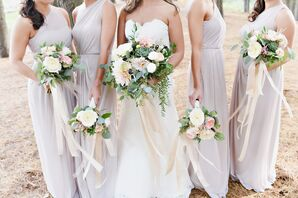 Cascading Blush Ribbon-Wrapped Bouquets