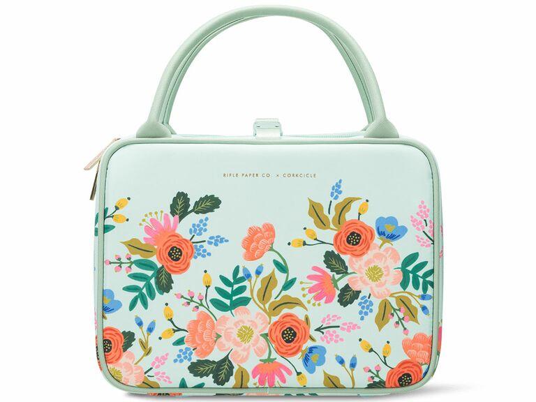 floral greenish blue lunch box