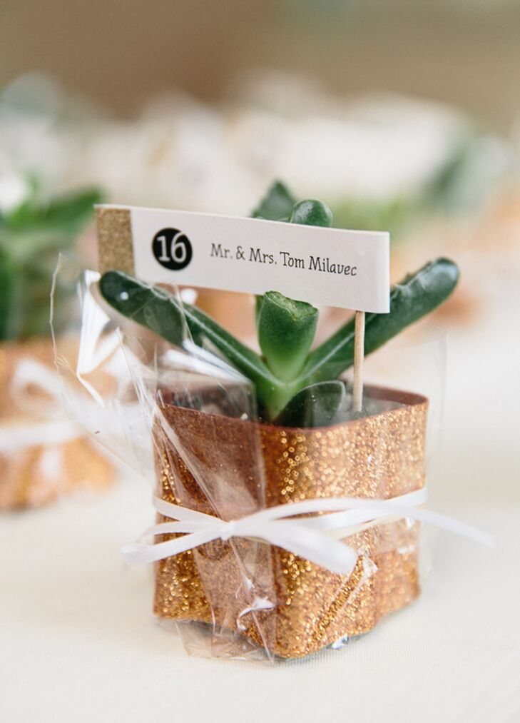 Succulents In Glitter Pot Escort Cards With Toothpick Flag