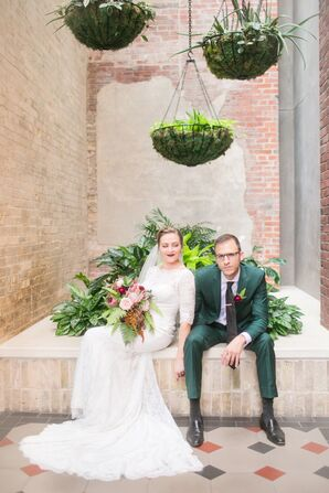 Alternative Couple with Groom in Green Suit