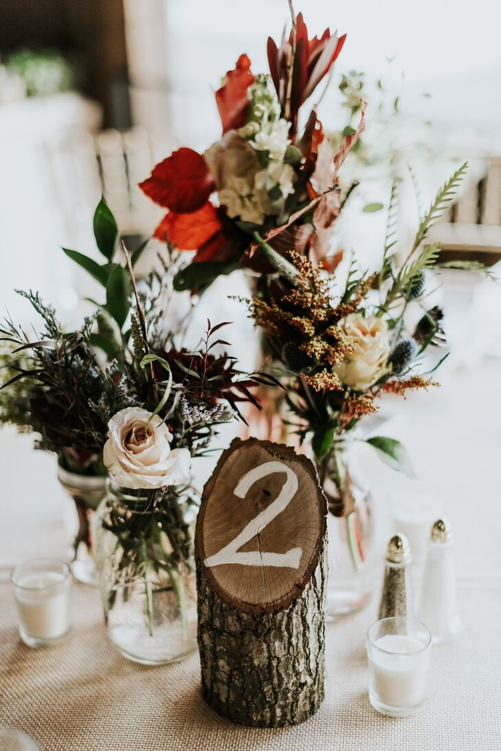 Wood Stump Table Number with Fall Leaf Centerpiece