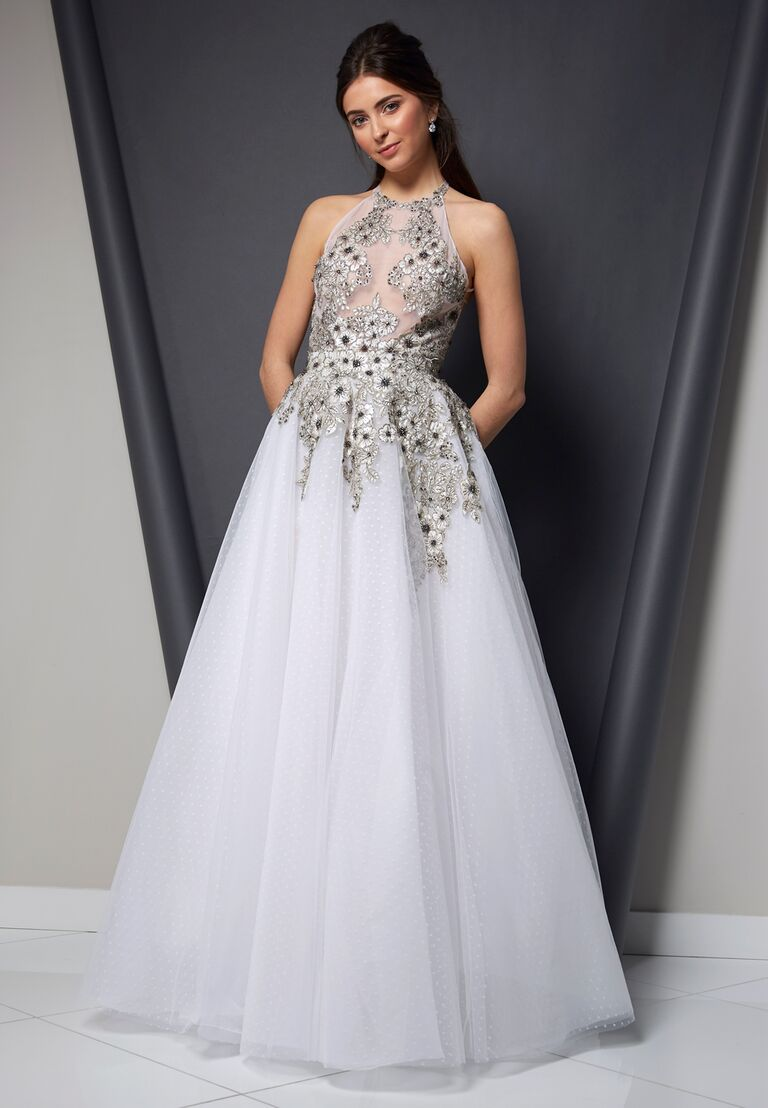 Randi Rahm Spring 2020 Bridal Collection A-line wedding dress with embroidered bodice and tulle skirt