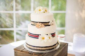 Three-Tier Rustic White Fondant Cake