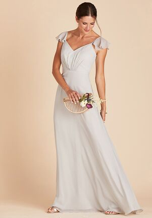 Birdy Grey Kae Bridesmaid Dress in Dove Gray V-Neck Bridesmaid Dress