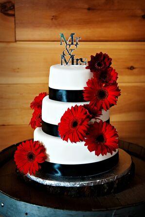 Red Gerbera Daisy Wedding Cake