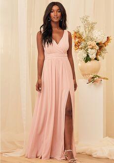 Lulus Thoughts of Hue Blush Surplice Maxi Dress V-Neck Bridesmaid Dress
