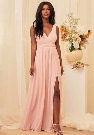 Lulus Thoughts of Hue Blush Surplice Maxi Dress V-Neck Bridesmaid Dress