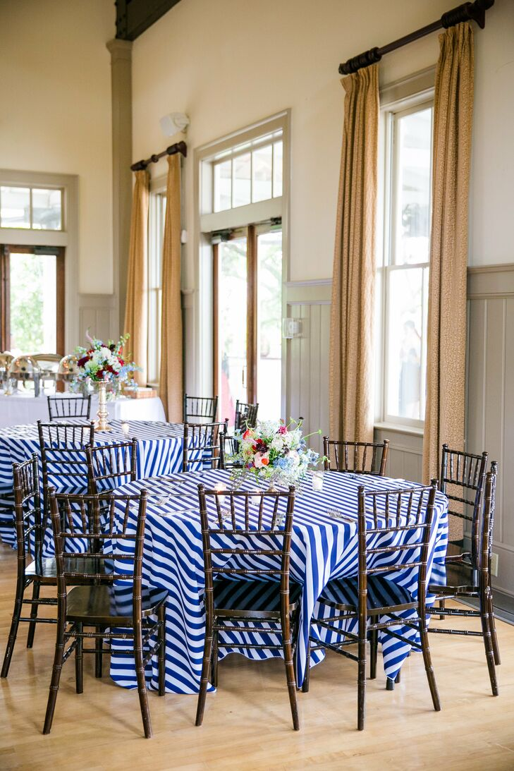Blue-and-White-Striped Wedding Reception Linens