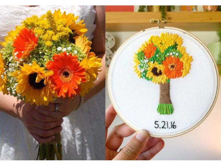 Side by side pictures of wedding bouquet and recreation on linen