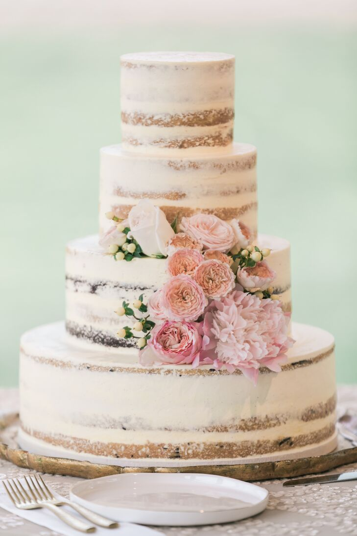 Naked Cake with Pink Cabbage Roses