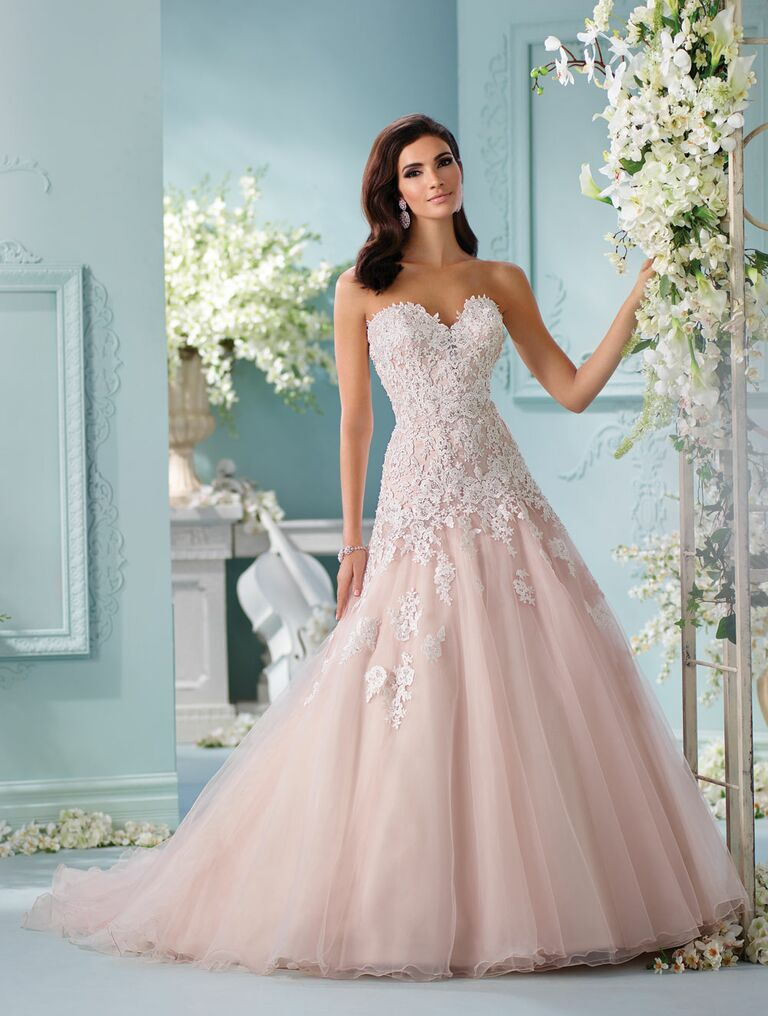 David Tutera Spring 2017 Strapless Blush A Line Wedding Dress With Sweetheart Bodice And Ivory