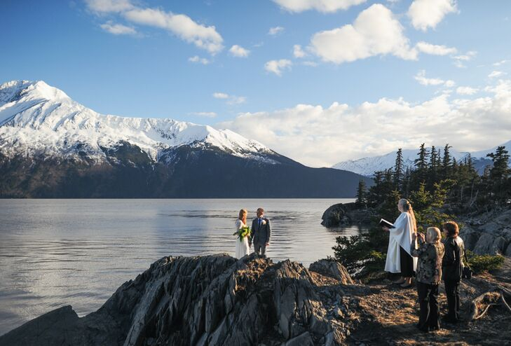 """""""Having visited Alaska in the wintertime, I thought that a springtime elopement would be magical,"""" Grace says. """"I pictured buds sprouting and kissing the surrounding shades of gray, white and blue. The location was selected with much help from Erica Rose, our amazing photographer, and the officiant, Rev. Dorothy Torres."""""""