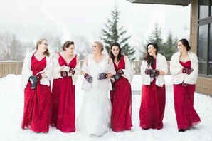 Winter Wedding Party with Wraps and Mittens