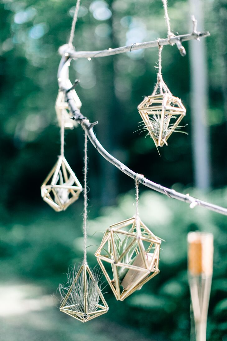 Hanging Metallic Geometric Air Plant Holders