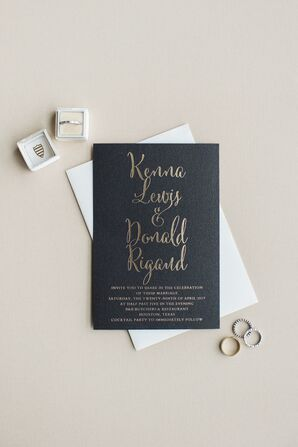Modern Black Invitation with Gold Leaf Font