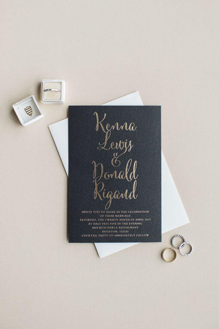 Modern Black Invitation with Gold Leaf Font