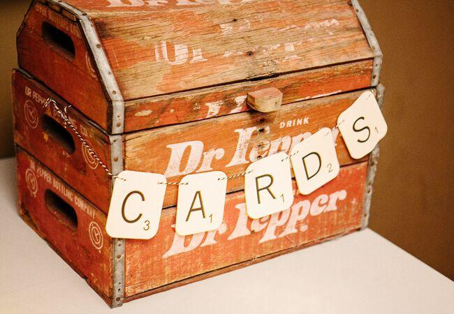 vintage wooden wedding gift card box