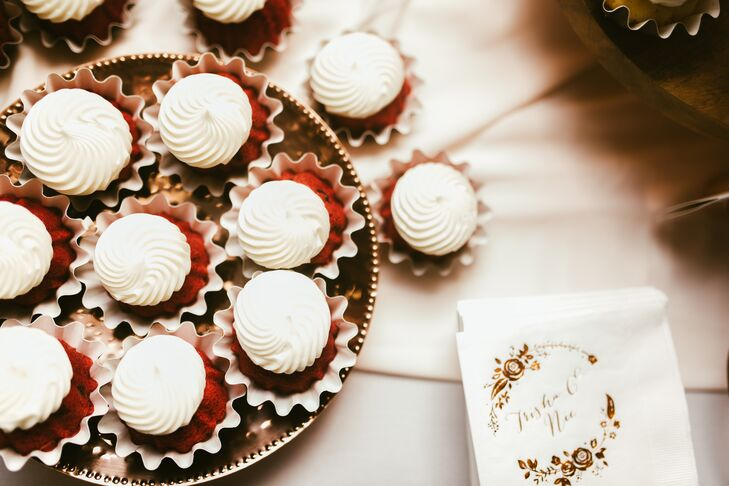 """For our guests, we had red velvet, white chocolate raspberry, chocolate and marble bundtinis with cream cheese frosting,"" Trisha says."