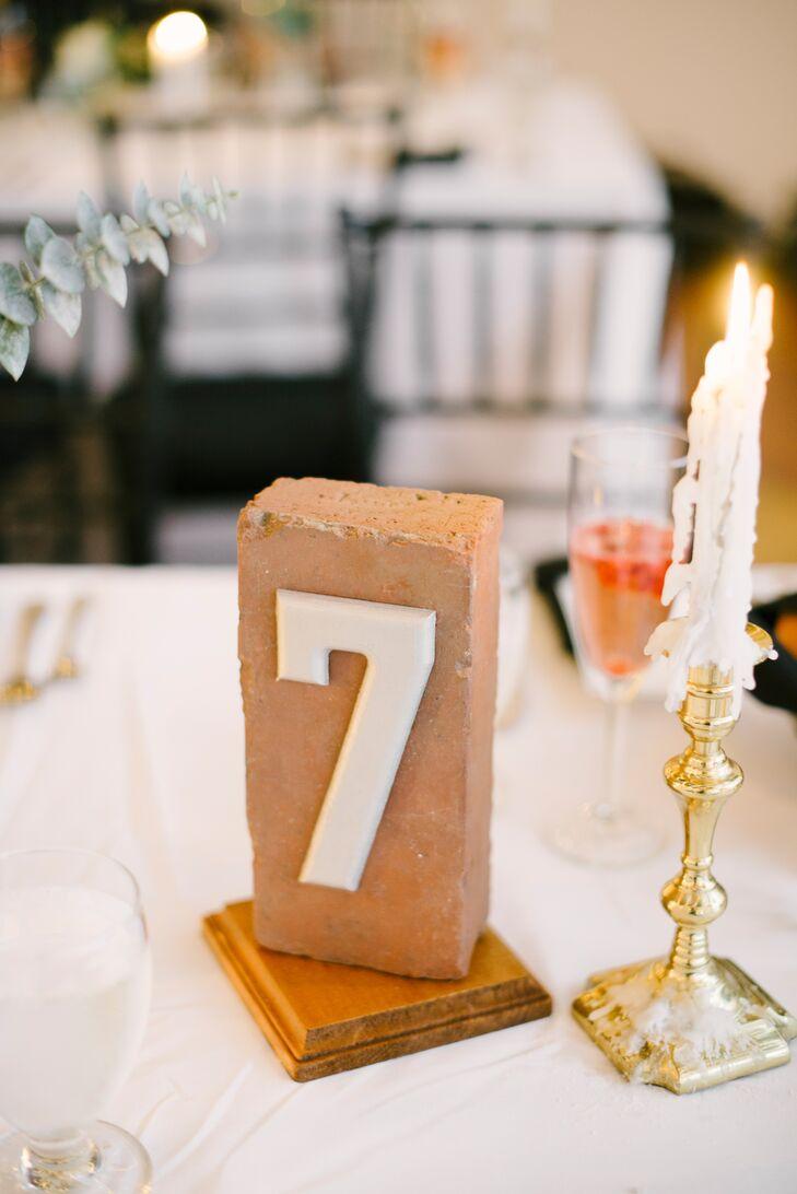 DIY Brick Table Numbers