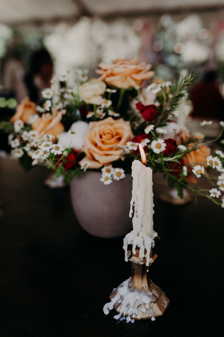Bohemian Flower Arrangement and Dripping Candle
