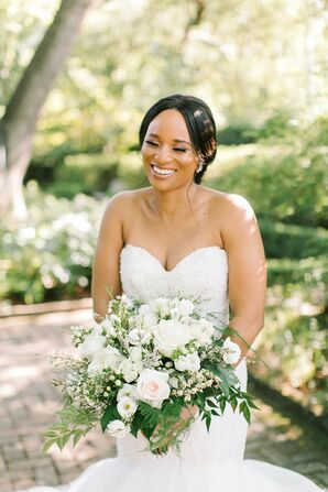Bride Smiling at Wedding at The Lace House in Columbia, South Carolina