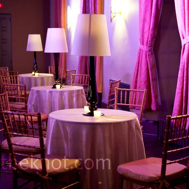 During the cocktail hour, guests relaxed in a lounge area decked out with purple draping and custom lamps.