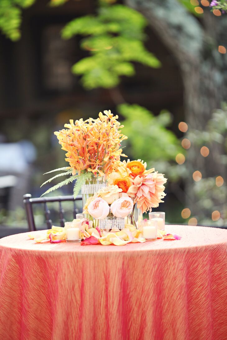 Modern Orange Cylinder Centerpieces