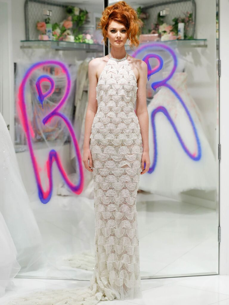 Randi Rahm Fall 2019 Bridal Fashion Week Collection high neck sheath dress with geometric pattern