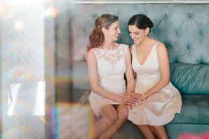White Knee-Length Nicole Miller Wedding Dress