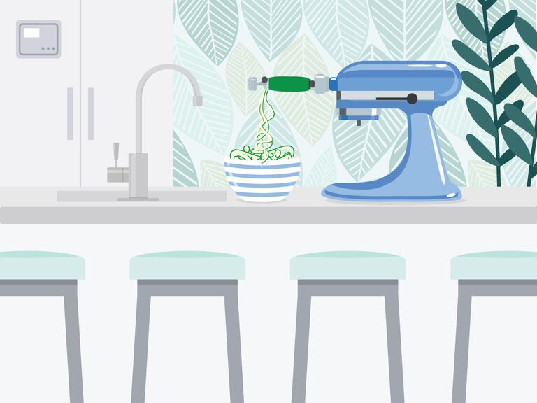 illustrated kitchen island with stand mixer on counter spiralizing a zucchini
