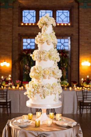 Five-Tier White and Cream Wedding Cake
