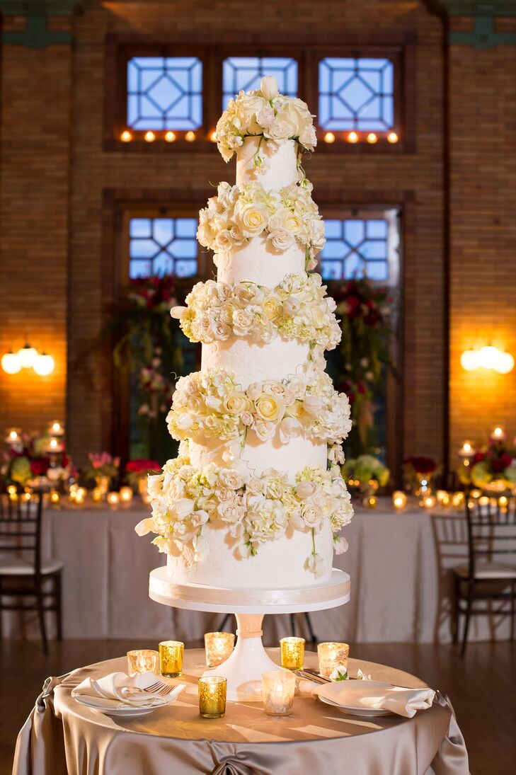 "An elegant five-tier cake was one of Katherine and Eric's favorite details. ""We loved how the impressed lace detail and button design was reminiscent of my wedding dress,"" Katherine says."