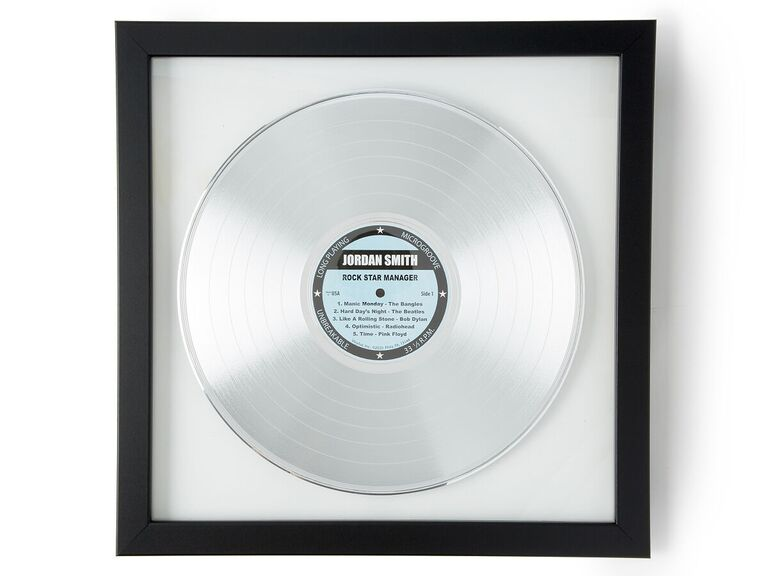 Personalized platinum record in black frame 20th anniversary gift