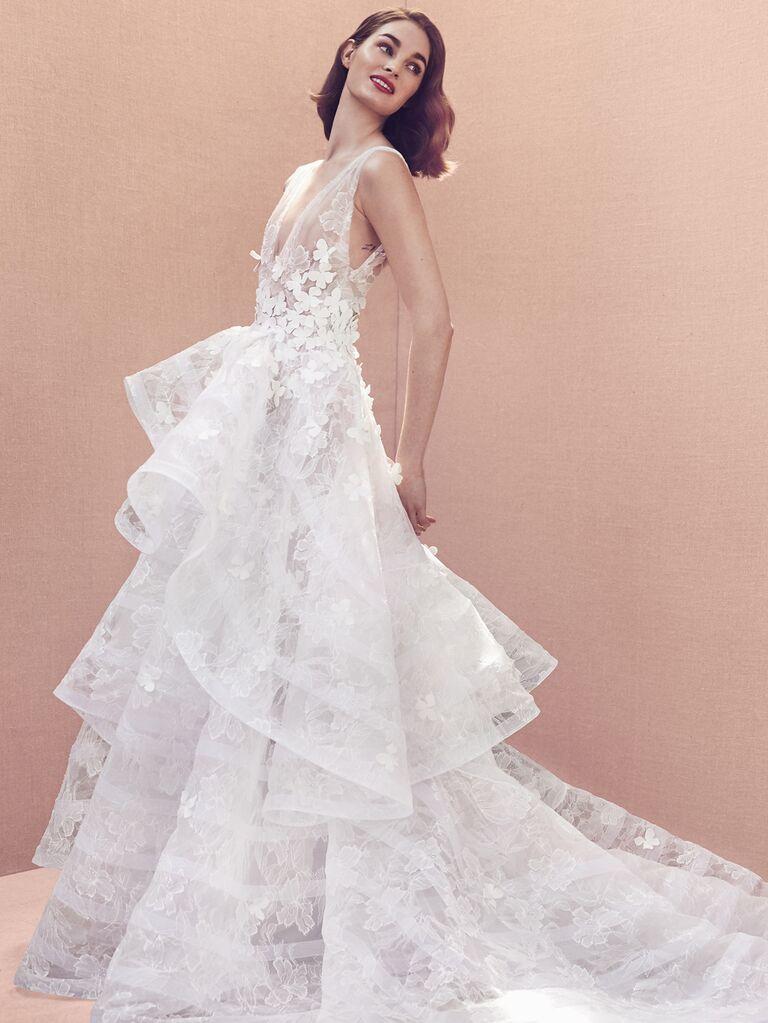 Oscar de la Renta Spring 2020 Bridal Collection floral appliqué wedding dress