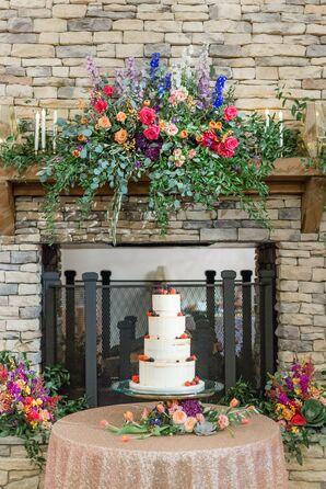 Colorful Rose Cake Table Arrangement