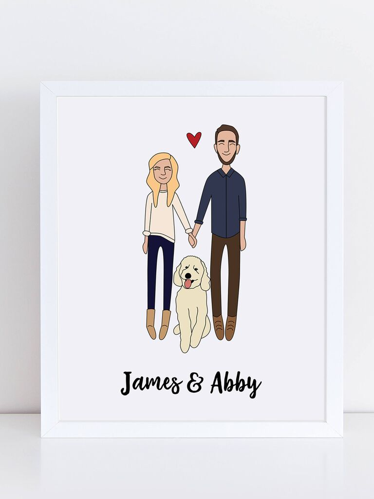 Custom couple portrait personalized engagement gift