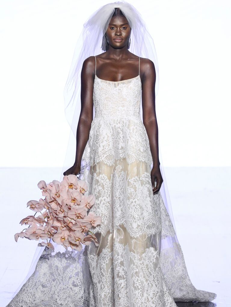 Watters Fall 2019 Bridal Collection lace wedding dress with spaghetti straps