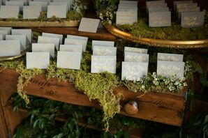 Gold Hand-Lettered Escort Cards in Moss
