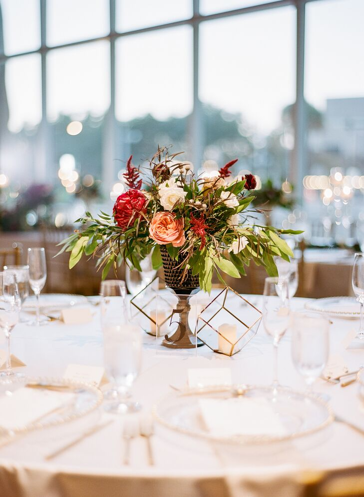 Centerpiece with Peonies and Greenery and Geometric Decor