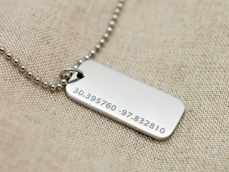 Platinum dog tag pendant necklace personalized with coordinates