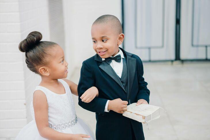 Black Tuxedo Ring Bearer Suit and White Lace with Beaded Belt Flower Girl Dress